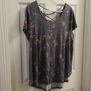 SO Blue/Gray Floral Top XXL